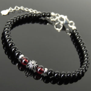 Handmade Healing Round Cross Gemstone Bracelet - Men's Women's Bright Black Onyx, Grade AAA Garnet, Genuine S925 Sterling Silver Clasp, Chain & Link  BR1717