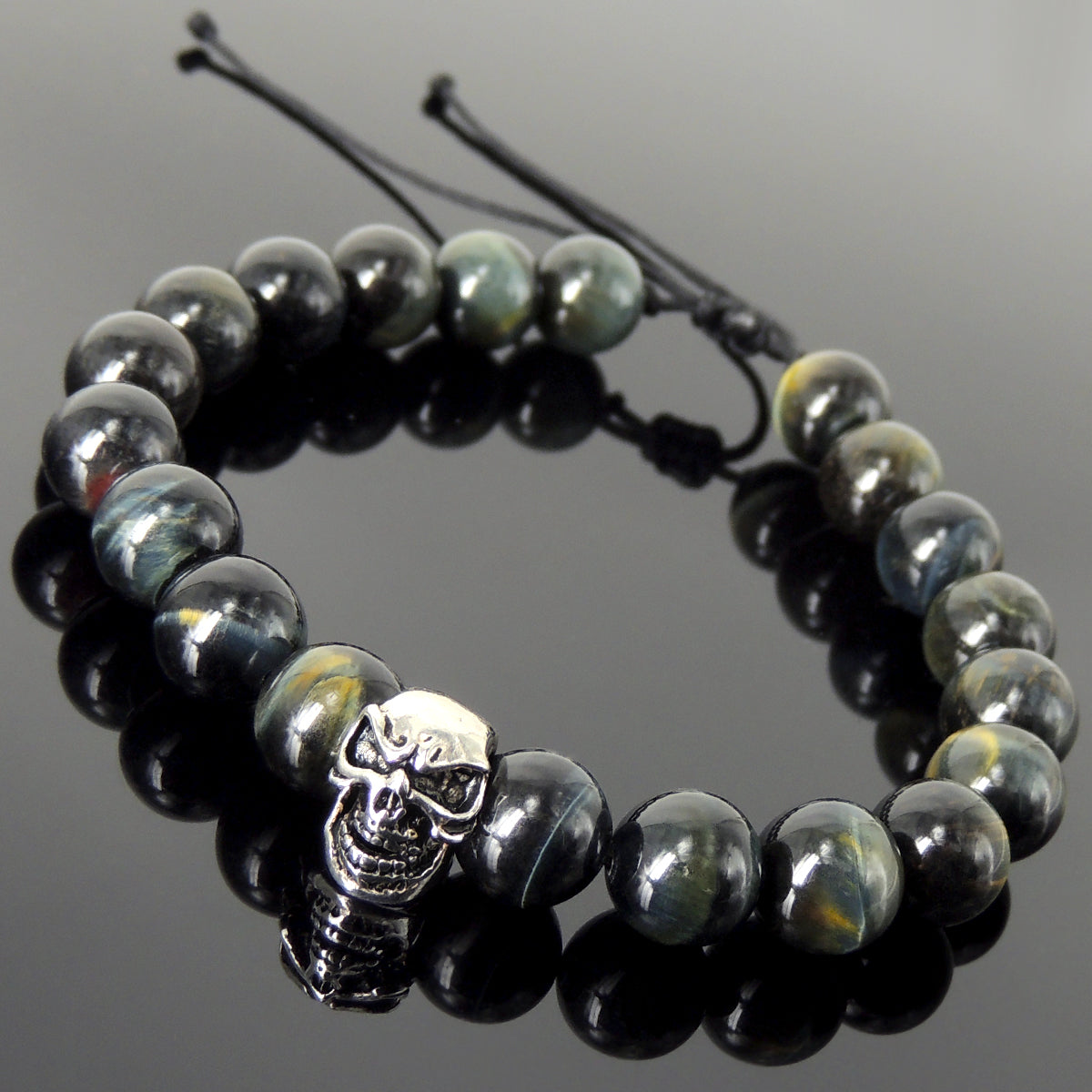 Biker Life Skull Gemstone Jewelry - Men's Women's Handmade Braided Bracelet Protection, Casual Wear with 10mm Brown Blue Tiger Eye, Adjustable Drawstring, S925 Sterling Silver Bead BR1724
