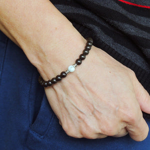 Vintage Minimalist Gemstone Jewelry - Men's Women's Handmade Braided Bracelet Protection, Casual Wear with 6mm Rainbow Black Obsidian, White Howlite, Adjustable Drawstring, S925 Sterling Silver Beads BR1728