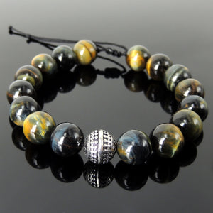 Healing Energy Gemstone Jewelry - Men's Women's Handmade Braided Bracelet Protection, Casual Wear with 12mm Brown Blue Tiger Eye, Adjustable Drawstring, S925 Sterling Silver Charm Bead BR1738