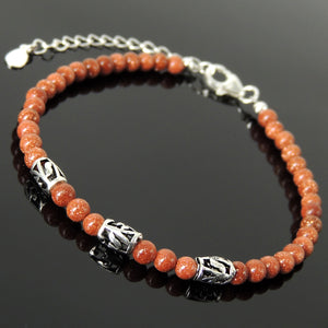 Handmade Healing Gemstone Bracelet for Men's Women's Cleansing Protection with 4mm Golden Sandstone, Genuine S925 Sterling Silver Leaf Carving Barrel Beads, Clasp, Chain & Link BR1745