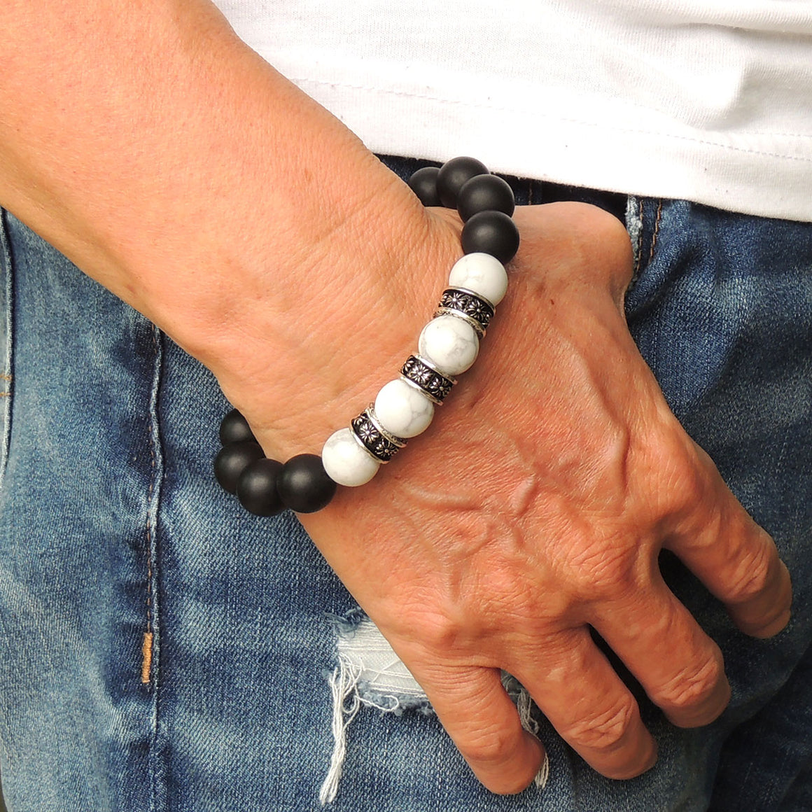 Cross Pattern Design Healing Gemstone Jewelry - Men's Women's Handmade Braided Charm Bracelet with 12mm Matte Black Onyx, White Howlite, Adjustable Drawstring, S925 Sterling Silver BR1764