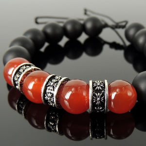 Cross Pattern Design Healing Gemstone Jewelry - Men's Women's Handmade Braided Charm Bracelet with 12mm Matte Black Onyx, Red Agate, Adjustable Drawstring, S925 Sterling Silver BR1766
