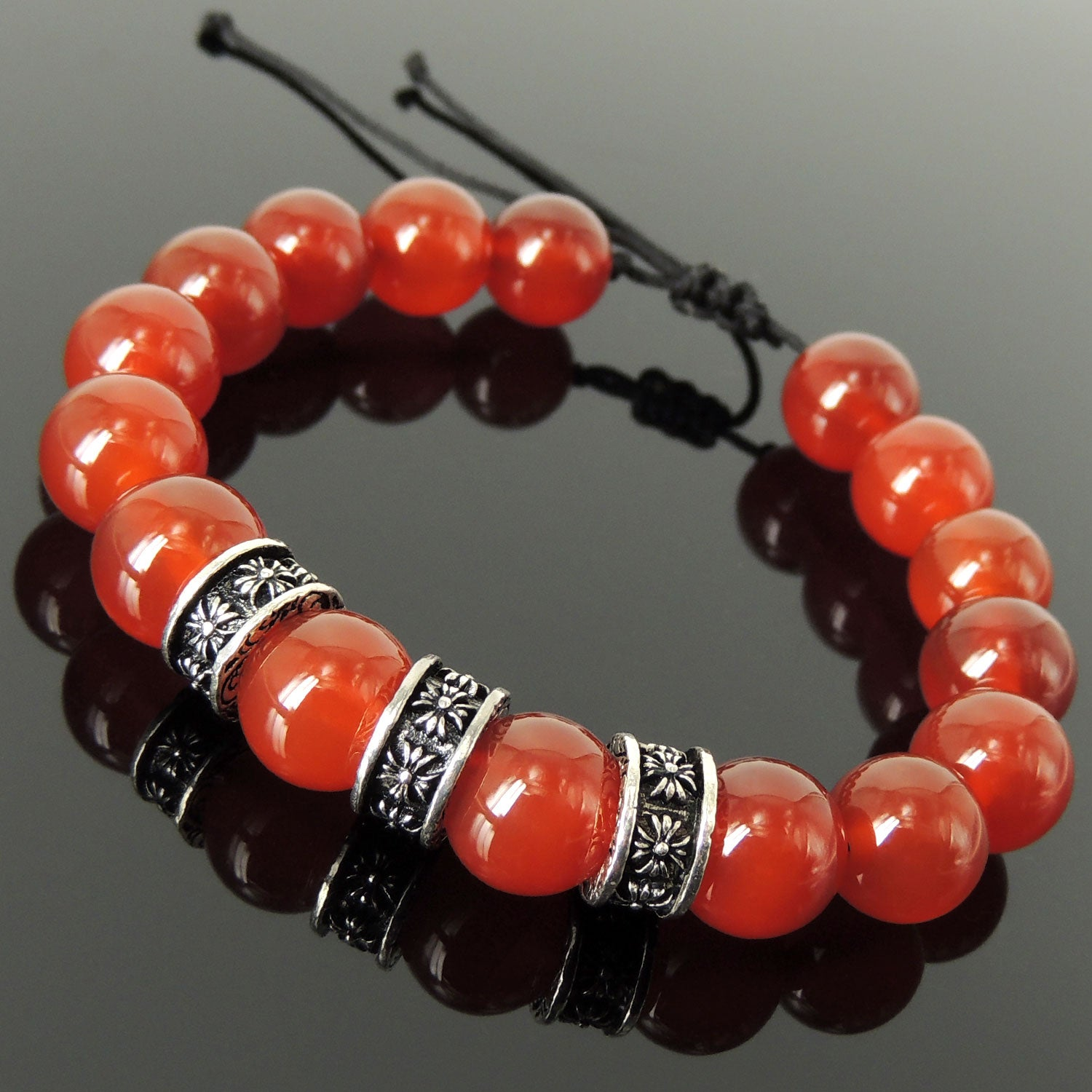 Bold Healing Gemstone Jewelry - Men's Women's Handmade Braided Charm Bracelet with 12mm Red Agate, Adjustable Drawstring, S925 Sterling Silver Cross Charms BR1773