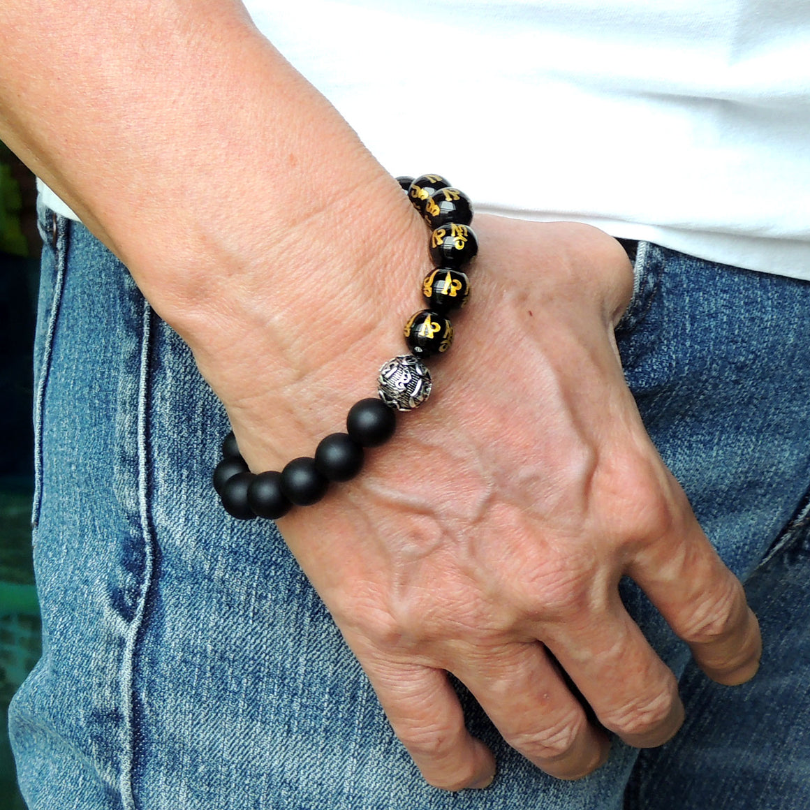 Handmade Adjustable Braided Bracelet - Men's Women's Custom Jewelry, Protection with 10mm Bright & Matte Black Onyx Healing Gemstones, Gold Hot Stamp, Genuine S925 Sterling Silver Meditation Bead BR1791