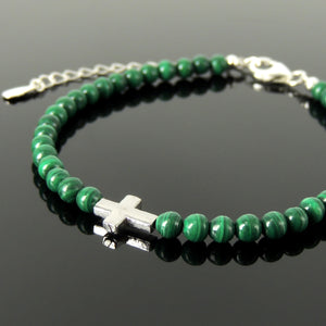 Handmade Adjustable Clasp Bracelet - Men's Women's Cross Jewelry, Courage with 4mm Malachite Healing Gemstones, Genuine S925 Sterling Silver Beads, Chain (Non-Plated) BR1813
