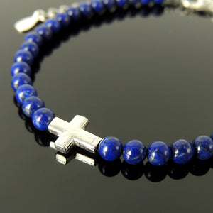 4mm Lapis Lazuli Gemstones with Small Prayer Cross for Courage & Prayer, Men's Women's Religious Jewelry, Handmade Adjustable Chain Bracelet, Genuine Non-Plated Sterling Silver 925 Purity Guaranteed Nickel and Lead Free Hypoallergenic Jewelry
