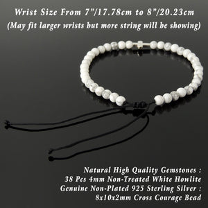 Handmade Adjustable Braided Bracelet - Men's Women's Cross Jewelry, Protection, Courage with 4mm White Howlite Healing Gemstones, Genuine Non-Plated 925 Sterling Silver Beads BR1818