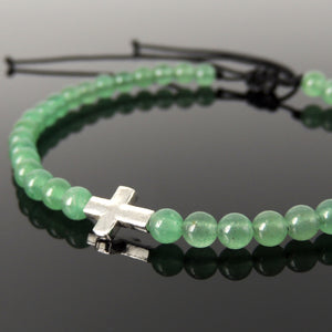 Handmade Adjustable Braided Bracelet - Men's Women's Cross Jewelry, Protection, Courage with 4mm Aventurine Quartz Healing Crystal, Genuine Non-Plated 925 Sterling Silver Beads BR1819