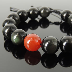 Handmade Adjustable Braided Bracelet - Men's Women's Custom Jewelry, Protection, Compassion with 14mm Rainbow Black Obsidian, Red Agate Healing Gemstones BR1821