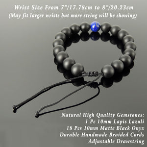 Handmade Adjustable Braided Bracelet - Men's Women's Custom Jewelry, Protection, Compassion with 10mm Lapis Lazuli, Matte Black Onyx Healing Gemstones BR1823