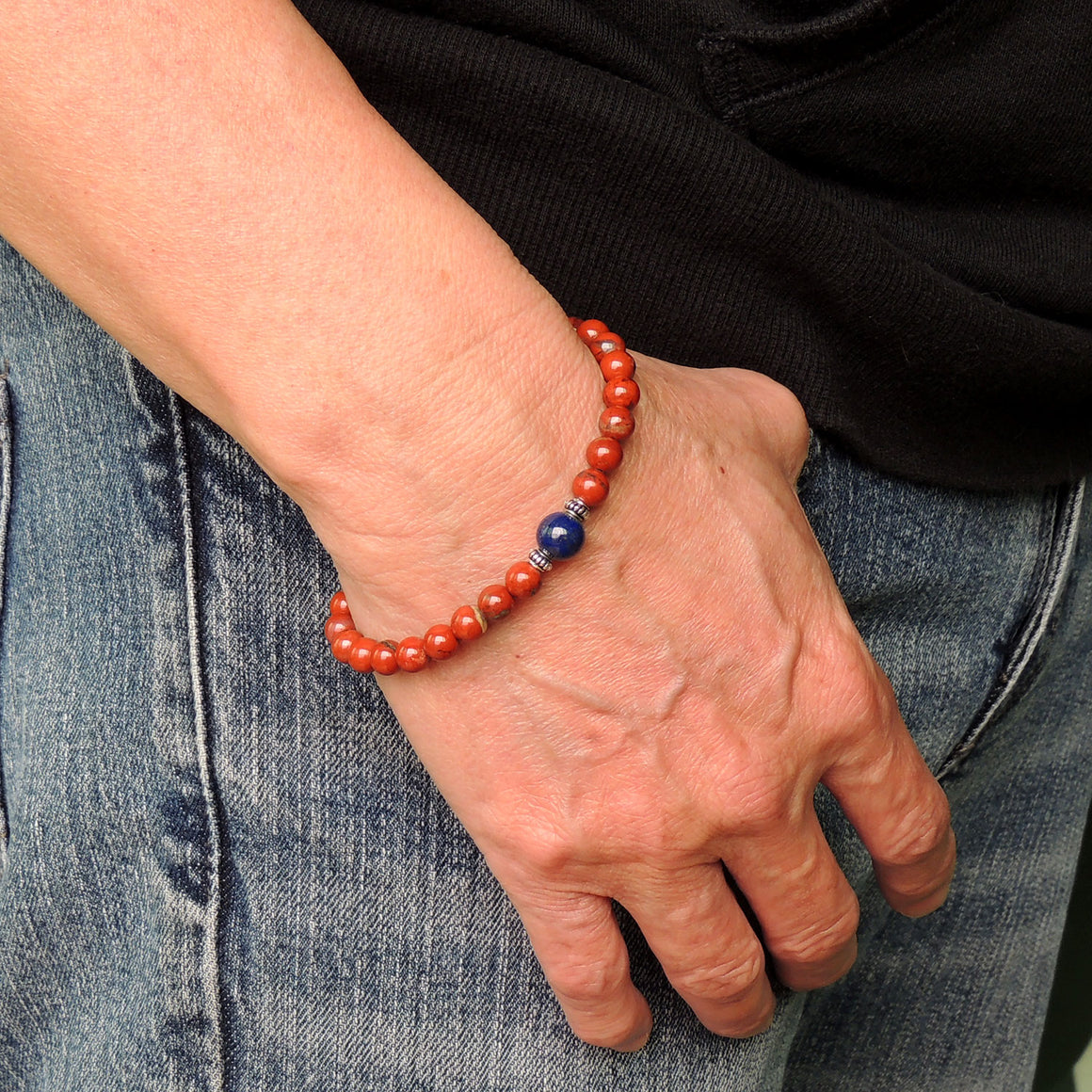 Handmade Adjustable Clasp Meditation Bracelet - Men's Women's Yoga Jewelry with Red Jasper, Lapis Lazuli Healing Gemstones, Genuine S925 Sterling Silver Parts (Non-Plated) BR1840
