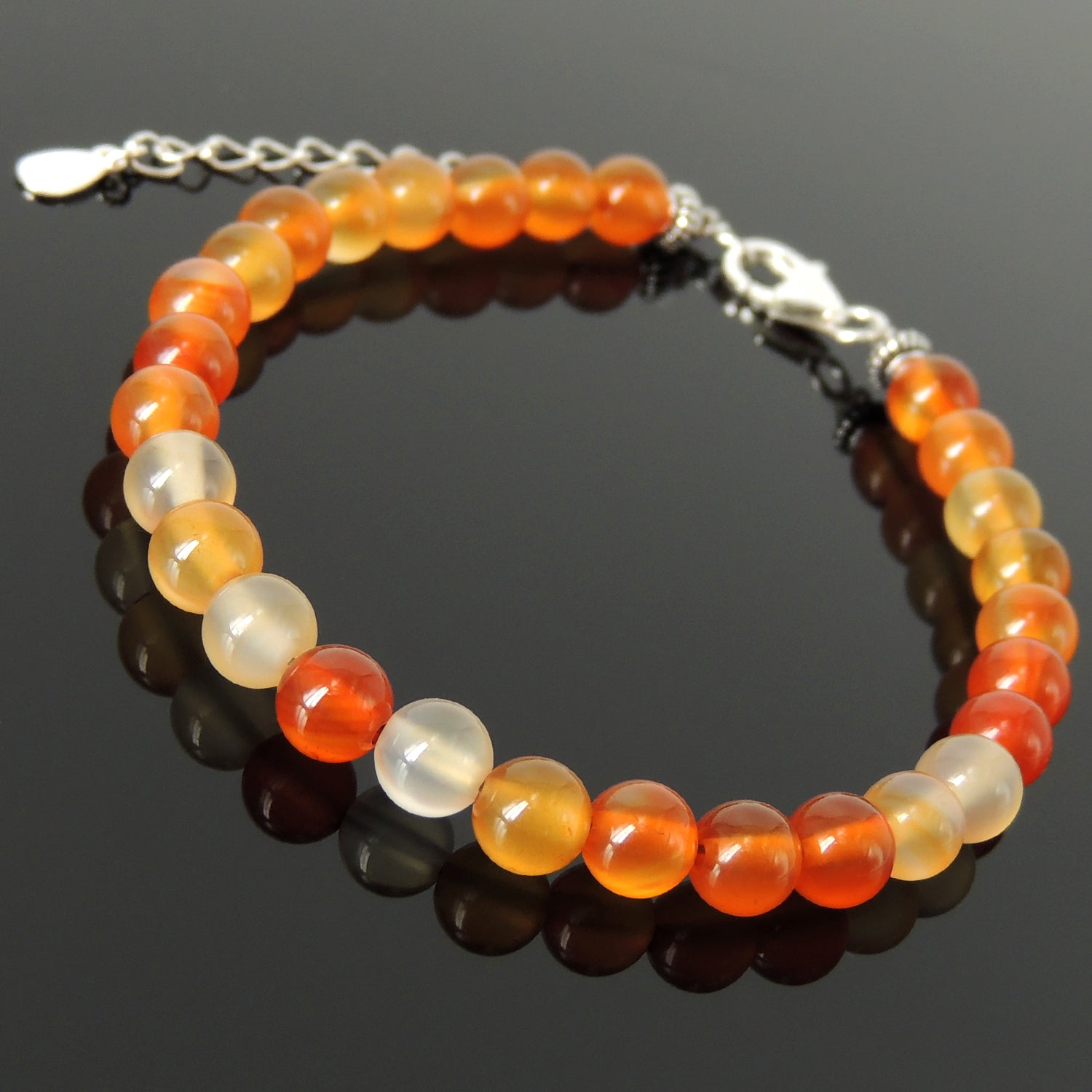 Handmade Adjustable Clasp Meditation Bracelet - Men's Women's Yoga Jewelry with 6mm Carnelian Multicolor Healing Gemstones, Genuine S925 Sterling Silver Parts (Non-Plated) BR1842