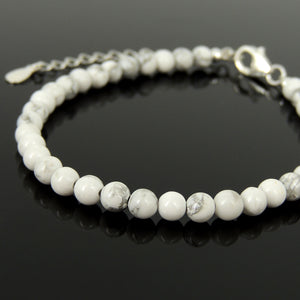 Handmade Adjustable Clasp Meditation Bracelet - Men's Women's Yoga Jewelry with 4mm Marbled White Howlite Healing Gemstones, Genuine S925 Sterling Silver Parts (Non-Plated) BR1843