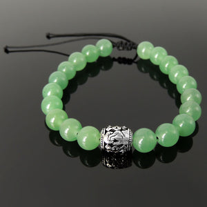Handmade Jewelry Adjustable Braided Bracelet - Men's Women's Catholic Prayer Bead, Compassion, Protection with Natural Healing Gemstones Green Aventurine Quartz, Genuine Non-Plated Sterling Silver BR1850