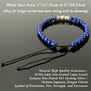 Elegant High Quality Lapis Lazuli Gemstones with Japanese Dragon Charm, Minimalist Design, Symbol of Strength, Protection, Intellect, Handmade braided bracelet, Use with Chakra Meditation to increase your Energy flow, Stability, Courage, Love, Spirituality, Gemstone Jewelry for Men's Women's Prayer, Healing, Yoga, Mindfulness - VIntage Design, 6mm Beads, Adjustable Drawstring Cords, Non-plated Sterling Silver S925, Includes FREE Gift Box, Sterling Silver Jewelry Polishing Cloth