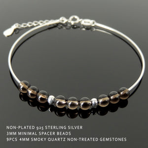 Elegant Smoky Quartz Healing Gemstone Translucent Crystal Chakra 4mm Small Beads Handmade Adjustable Chain Link Bracelet, Nickel & Lead Free Wire Sterling Silver Parts Made in Italy