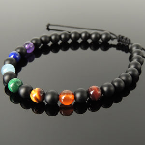 Handmade Adjustable Seven Chakras Bracelet - Energy Therapy Alignment with Amethyst, Lapis Lazuli, Aquamarine, Malachite, Grade AA Brown Tiger's Eye, Carnelian, Red Tiger's Eye, 6mm Bead Size