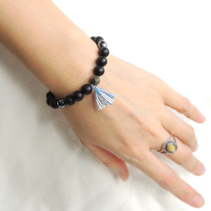 Handmade Tassel Bracelet, Wrist Mala, Braided and Adjustable - Natural Blue Dyed Cotton Blend, 5th Chakra Vissudha, 8mm Healing Gemstones, Matte Black Onyx, Faceted Hematite, Faceted Gold Pyrite