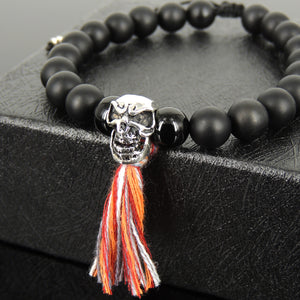 Festive Halloween Skull Charm, Costume Jewelry - Handmade Braided Tassel Bracelet, Wrist Mala, Natural Healing Gemstones, 8mm Glossy and Matte Black Onyx, Genuine 925 Sterling Silver