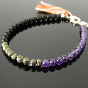 Handmade Adjustable Mala Bracelet, Natural Healing Gemstones with Multi-colored Cotton Tassel for Japa Meditation - Amethyst, Bright Black Onyx, Faceted Gold Pyrite, 4mm Small Beads, Genuine 925 Sterling Silver Parts