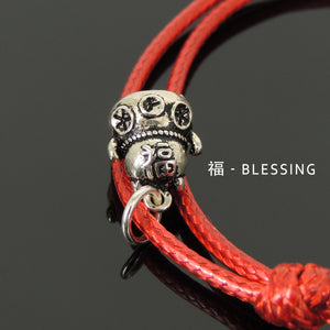 "Maneki Neko Charm/Pendant, ""Lucky Cat"", Bright Red Wax Rope Bracelet with Genuine 925 Sterling Silver Chinese Calligraphy Scrolls - Blessing, Wealth, and Protection"