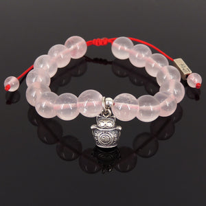 "10mm Natural Healing Rose Quartz Gemstones | Handmade Adjustable Braided Bracelet | Maneki Neko Charm | Double-sided Lucky Cat | Chinese Calligraphy Symbols - | 福, 招财进宝, 吉祥如意 | ""Blessing"" & ""Attraction of Wealth"", ""May all your wishes come true!"""