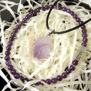 Wellness Gift Set | Bracelet and Necklace Set | Raw Amethyst Crystal Pendant and Small Gemstone Beads | The perfect gift for loved ones, friends, and family | Third Eye Chakra Energy Healing, Reiki Infused