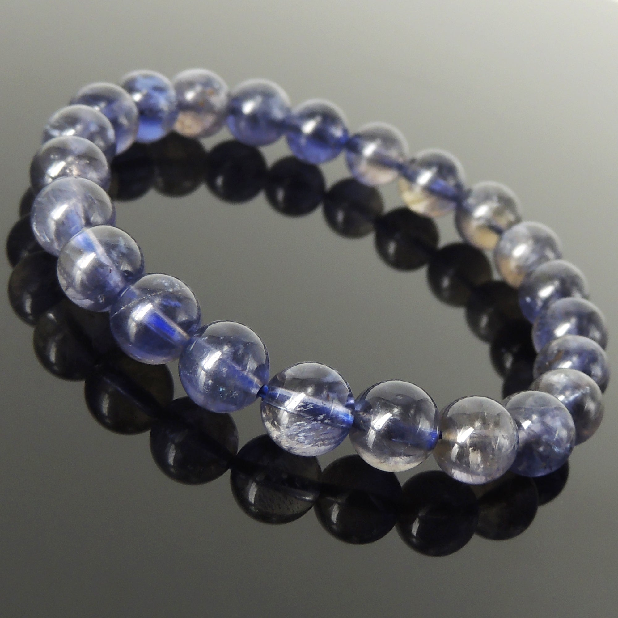 Iolite bracelet for feet Purple raw crystal anklet Water sapphire ankle bracelet Natural stone jewelry Crown chakra healing energy