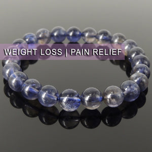 High Quality Natural Iolite Cordierite Gemstone Bracelet for Crown Chakra and Third Eye Chakra Meditation, Manifestation, Awareness, Protection, Powerful Reiki Energy Healing