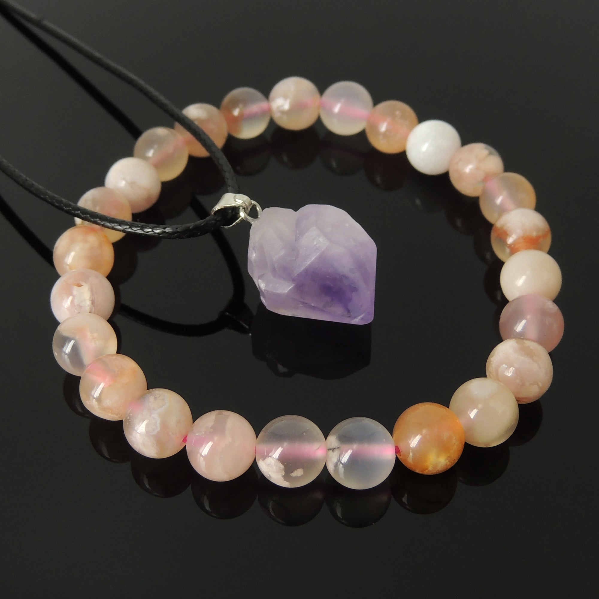 Wellness Gift Set | Genuine Flower Agate Gemstone Bracelet | Raw Amethyst Crystal Pendant Necklace | The perfect gift for loved ones, friends, and family | Energy Healing, Reiki Infused, Loving Chakra Stones