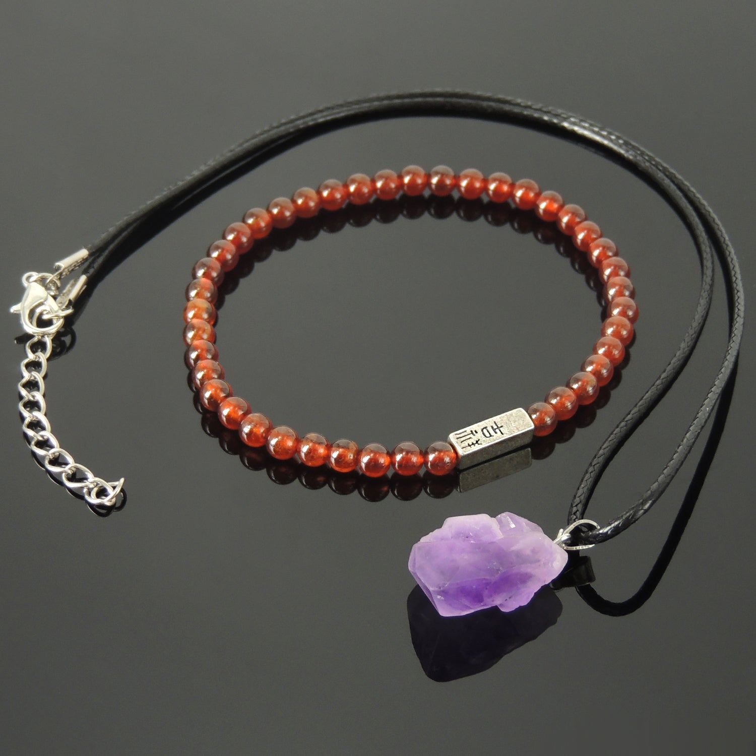 Handmade Wellness Gift Set | Genuine Orange Spessartine Garnet Bracelet | Raw Amethyst Crystal Pendant Necklace | Powerful Healing Gemstones | Chakra Stones for Expanding Intuition and Accelerating Manifestation