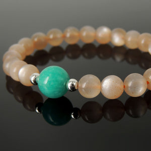 Intense Sparkling Orange Moonstone and Amazonite | Genuine High Quality Iridescent Healing Gemstones | Handmade Chakra Bracelet | Activates and Balances Upper Chakras