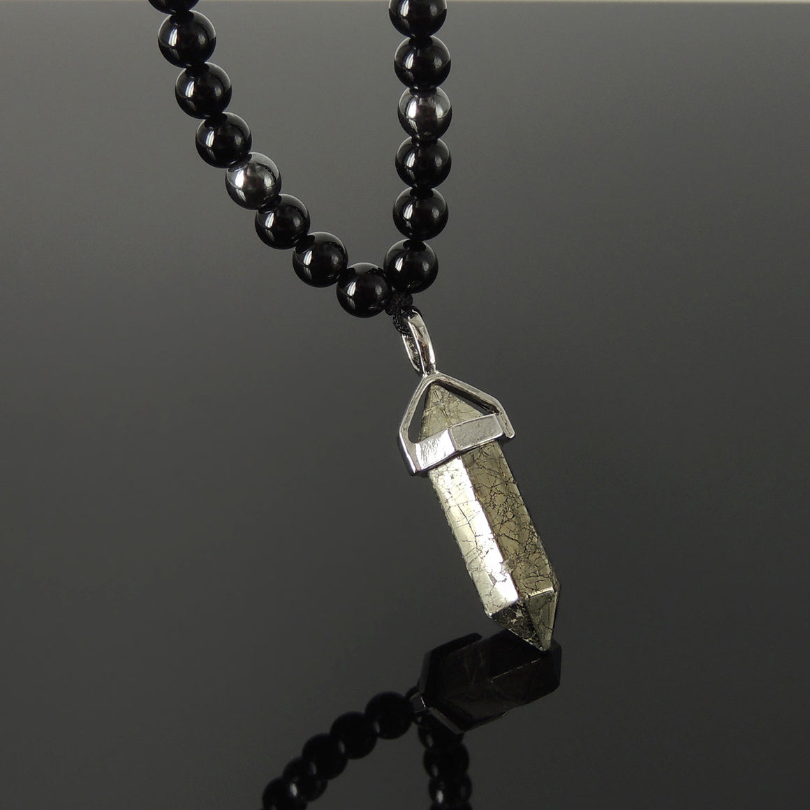 Crystal Point Pendant Gemstone Necklace - Men's Women's Custom Jewelry with Gold Pyrite, Bright Black Onyx, Hematite Beads, Handmade Adjustable Cords NK249