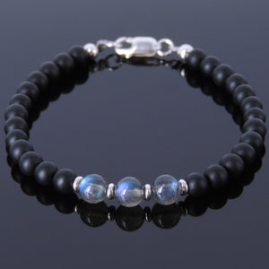 Labradorite & Matte Black Onyx Healing Gemstone Bracelet with S925 Sterling Silver Beads Spacers & Clasp - Handmade by Gem & Silver BR512