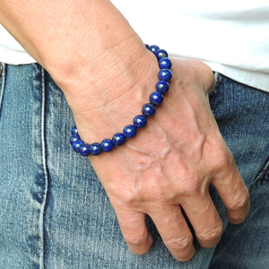8mm Lapis Lazuli Healing Gemstone Bracelet with S925 Sterling Silver Spacer Beads & S-Hook Clasp - Handmade by Gem & Silver BR530