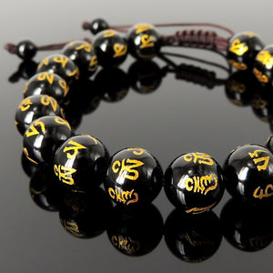 Elegant Glossy Black Onyx Gemstones with Gold Hot Stamps OM Meditation Mantra Symbol Pattern, Handmade braided bracelet, Gemstone Jewelry for Prayer, Healing, Yoga, Mindfulness
