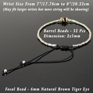 Brown Tiger Eye Adjustable Braided Bracelet with S925 Sterling Silver Vintage Artisan Sun Barrel Beads - Handmade by Gem & Silver BR821