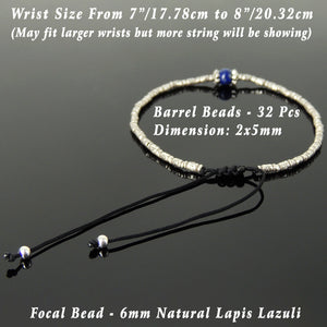 6mm Lapis Lazuli Adjustable Braided Bracelet with S925 Sterling Silver Vintage Artisan Sun Barrel Beads - Handmade by Gem & Silver BR831