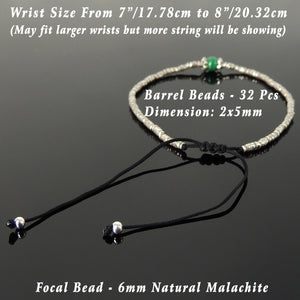 6mm Malachite Adjustable Braided Bracelet with S925 Sterling Silver Vintage Artisan Sun Barrel Beads - Handmade by Gem & Silver BR832