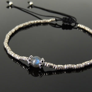 6mm Strong Flash Labradorite Adjustable Braided Bracelet with S925 Sterling Silver Vintage Artisan Sun Barrel Beads - Handmade by Gem & Silver BR834