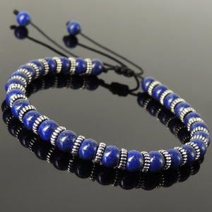 6mm Lapis Lazuli Adjustable Braided Bracelet with S925 Sterling Silver Spacers - Handmade by Gem & Silver BR851