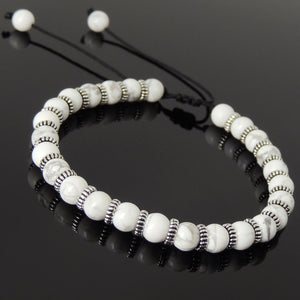 6mm White Howlite Adjustable Braided Bracelet with S925 Sterling Silver Spacers - Handmade by Gem & Silver BR855