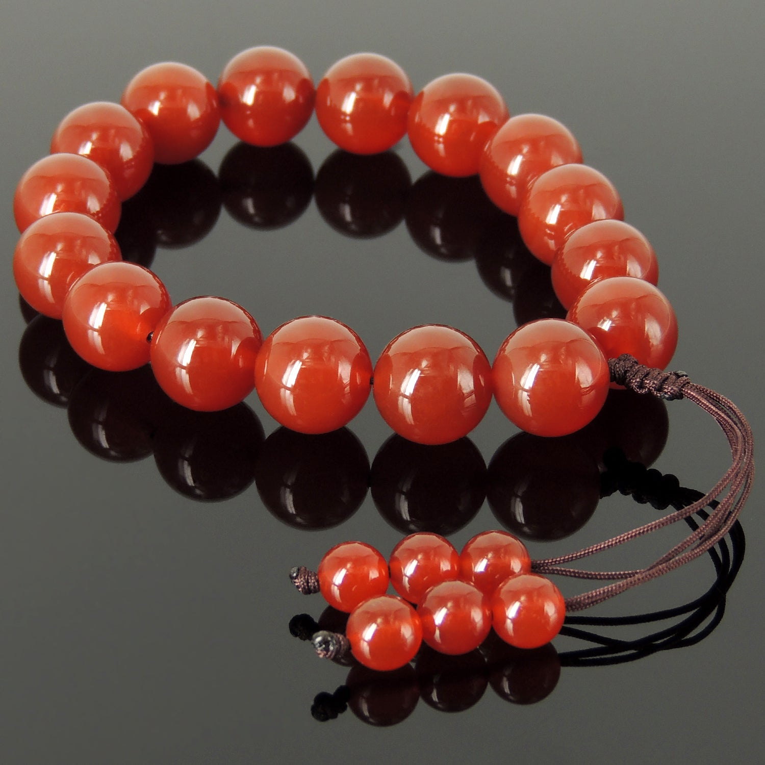Handmade Adjustable Braided Cords, Healing 14mm Red Agate Meditation Beads, Natural Gemstones - Men's Women's Protection & Compassion HL004