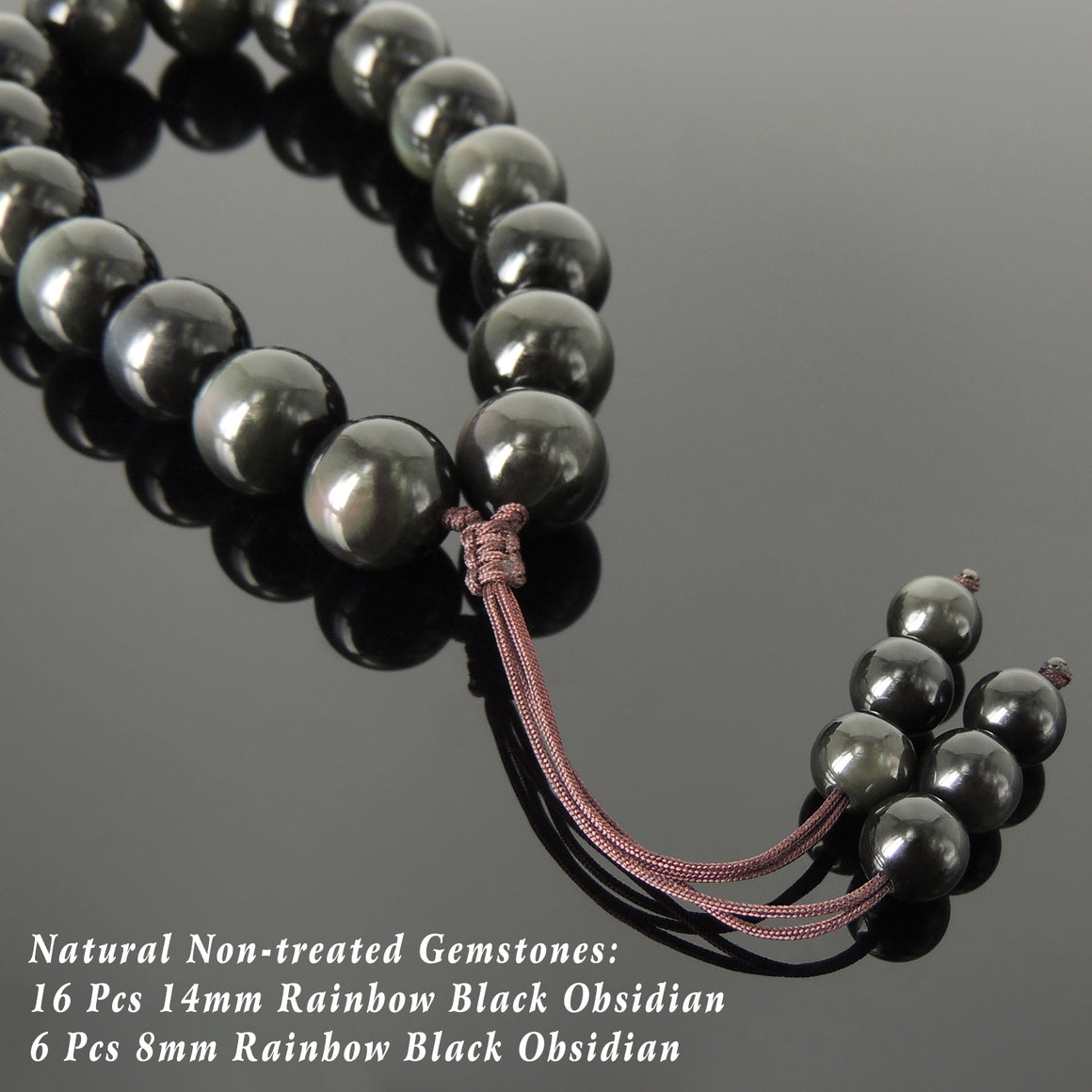 Handmade Adjustable Braided Cords, Healing 14mm Rainbow Black Obsidian Meditation Beads, Natural Gemstones - Men's Women's Protection & Compassion HL005