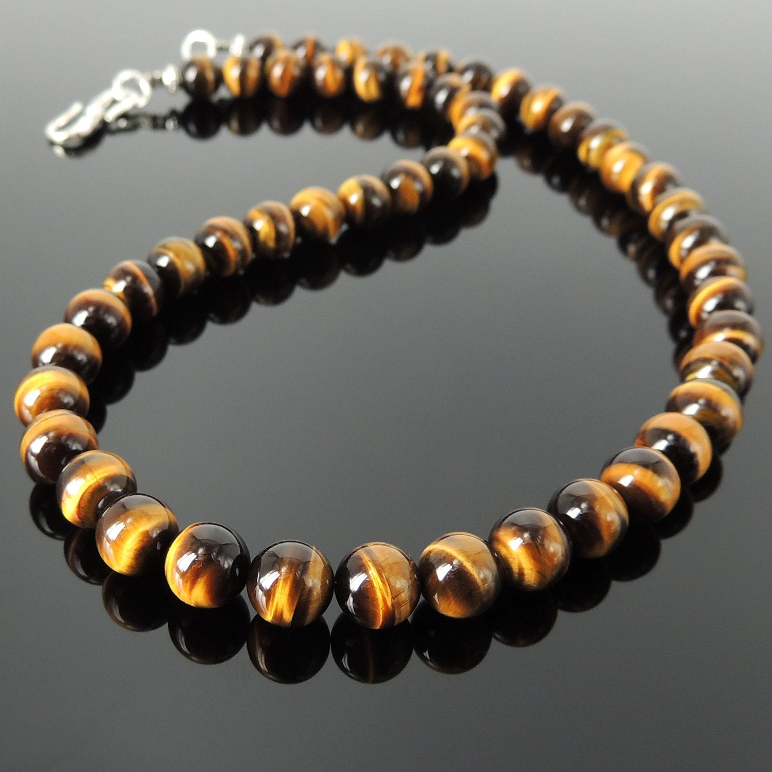 8mm Grade AAA Brown Tiger Eye Healing Gemstone Necklace with S925 Sterling Silver Spacers & S-Hook Clasp - Handmade by Gem & Silver NK080