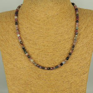 5mm Faceted Multi Color Tourmaline Healing Gemstone Necklace with S925 Sterling Silver Spacer Beads & Clasp - Handmade by Gem & Silver NK195
