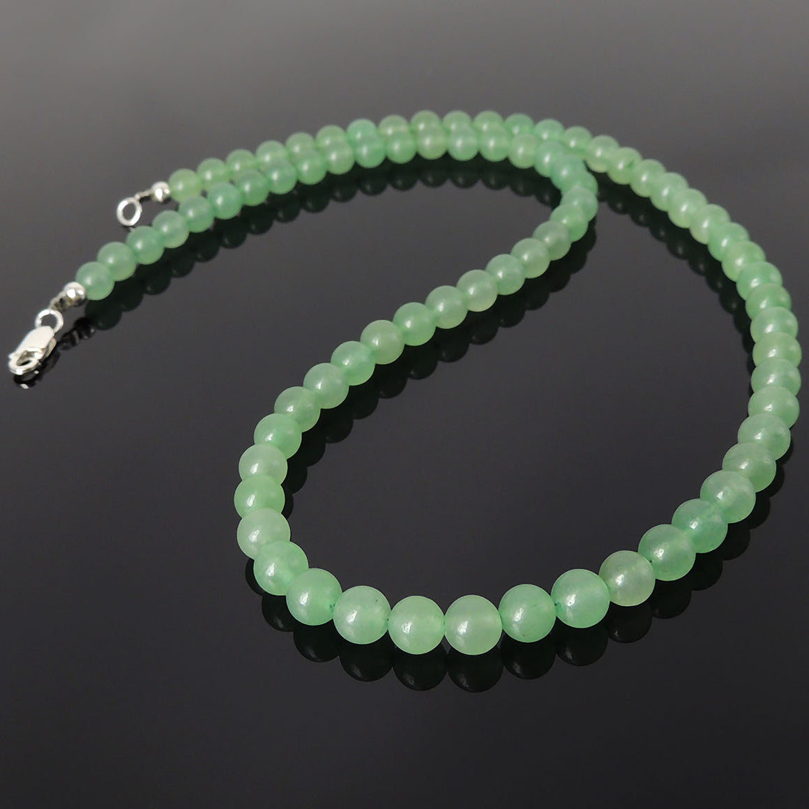6mm Aventurine Quartz Healing Gemstone Necklace with S925 Sterling Silver Spacer Beads & Clasp - Handmade by Gem & Silver NK200