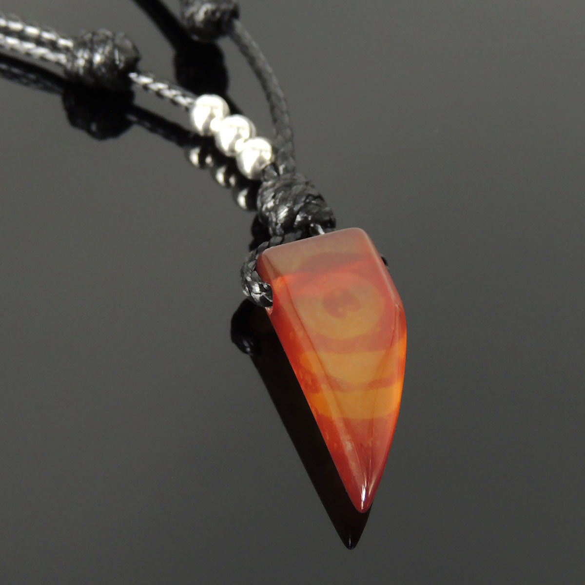Mens Women Adjustable Necklace Agate Wolf Tooth Pendant Sterling Silver Bead 202