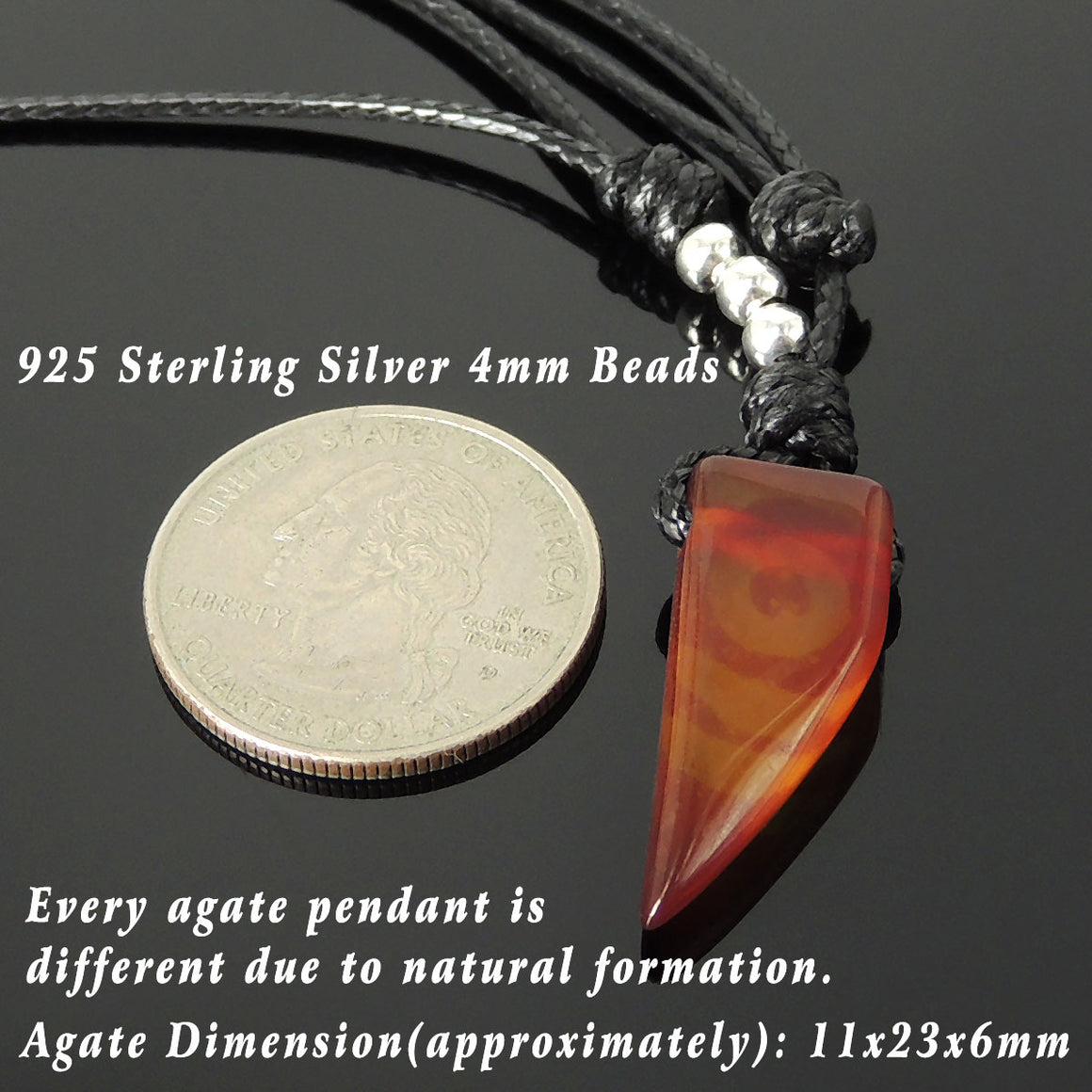 Agate Wolf Tooth Pendant Adjustable Wax Rope Necklace with S925 Sterling Silver Seamless Beads - Handmade by Gem & Silver NK202
